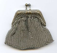 Great for RePurposing!! Antique Germany Silver Chain Coin Change Purse - Minor TLC to Chain Links #Germany #ChangePurse