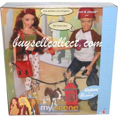 2003 My Scene Barbie Out and About Chelsea and Hudson doll set with 2 dogs Churro Chihuahua with black leash C3729 NRFB Mattel
