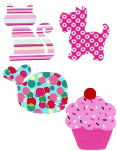 Variety of fabric Iron on appliques for girl onesies - shower, gifts, birthday DIY cat, dog, cupcake & whale. $4.00, via Etsy.