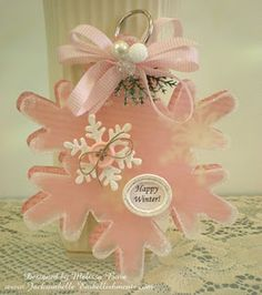 ~ Pink Snowflake ~ Wood Snowflakes, Button, Paint & Sandpaper....Can do....