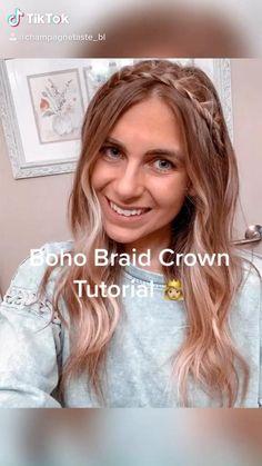 Braided Crown Hairstyles, Easy Hairstyles For Long Hair, Pretty Hairstyles, Boho Hairstyles For Long Hair, Wedding Hairstyles, Braided Hairstyles For School, Overnight Hairstyles, Medium Hair Styles, Curly Hair Styles