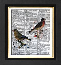 Colorful Birds Us Two  ORIGINAL ARTWORK Mixed by sherryannshop, $10.00
