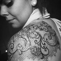 lace tattoo on back
