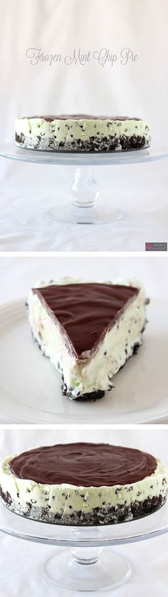 Frozen Mint Chocolate Chip Pie Recipe ~  Mint Oreo crust, easy homemade mint chocolate chip ice cream, and a thick layer of chocolate ganache.... perfect for summer!