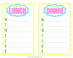 free printable lunch & dinner meal planning sheet