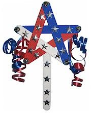 Patriotic Star Wand-make into a Star of David and use blue and white sticks and streamers streamers for Sinchat Torah. Add bells for a Purim grogger. 4th July Crafts, Fourth Of July Crafts For Kids, Patriotic Crafts, Patriotic Decorations, 4th Of July, Daycare Crafts, Preschool Crafts, Blue Crafts, Arts And Crafts