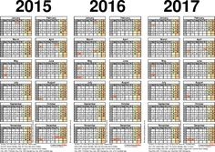 Calendar  Three Year Printable Pdf Calendars