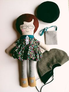 Amélie, Cloth Doll, Softie, Rag Doll, Glasses Doll.
