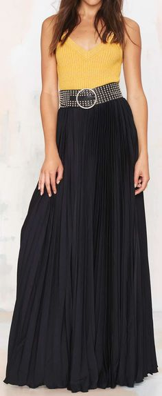 Great Lengths Pleated Maxi Skirt in Black