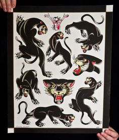 "American Tradition Panther Flash Tattoo Options to go on the leg of my ""Old School"" Pin-Up girl New Traditional Tattoo, Traditional Panther Tattoo, Traditional Ink, American Traditional, Pantera Old School, Cat Tattoo, Tattoo Drawings, Black Panther Tattoo, Panther Tattoos"