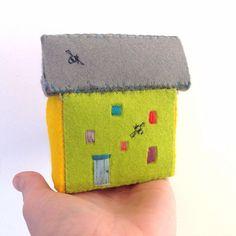 Hand embroidered mini felt Bee House