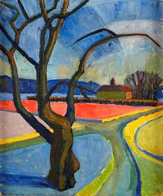 MALMSTEN, Egil (b. 1921)/ Landscape Sunset (I find the textures and brush strokes in this very interesting)