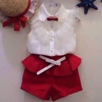 Cheap fashion kids clothes, Buy Quality kids clothes directly from China kids clothes fashion Suppliers: children's clothing hot-selling fashion girls baby set Girl lace white blouses+ red shorts clothing set kids clothes Baby Girl Fashion, Kids Fashion, Fashion 2015, Short Outfits, Kids Outfits, Children's Outfits, Unique Outfits, Baby Set Mädchen, White Lace Blouse