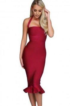 Wine Halter Mermaid Midi Bodycon Bandage Dress Midi Flare Dress 052c773e7
