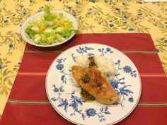 Chicken piccata (Giada's recipe), steamed rice, side salad.
