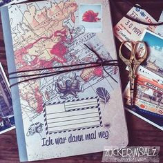 """Save the Memories, das unglaubliche Reisetagebuch DIY  heute wird es hier total fernwehmäßig, retro chic dingensmäßig und vor allem sowas von super schnell ge-DIYourselft mit meinem """"Ich war dann mal weg""""  unglaublichen Reisetagebuch zum selber machen ➡ jetzt auf dem Blog 《link im Profil 》 ... ⭐⭐⭐ now on the blog my Traveller Notebook DIY ⭐⭐⭐ #foodblogger #blogger #photographer #photographerlife #diy #notebook #traveller #reisetagebuch"""