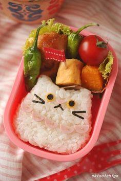 「ねこちゃんおにぎりのお弁当」:キャラ弁連載:15分でできる簡単キャラクター弁当:レシピブログ