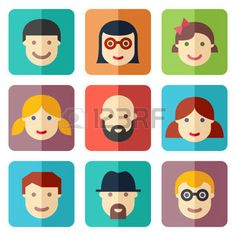flat avatar: Flat avatar icons, faces, people icons