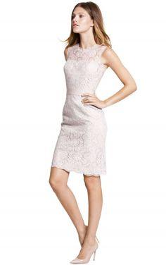 sku:0800078; Silhouette:Sheath; Hemline:Knee-length; Fabric:Lace; Back Details:Buttons; Neckline:Jewel; Waist:Empire; Colour:Pink,White; Sleeve Length:Sleeveless;