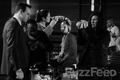 """Even Patti Nyholm needs a hair touch-up every now and then. Josh Charles and Martha Plimpton with 1st AD Colin MacLellan at far right. 