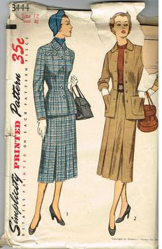 Vintage Pattern 2 Pc Suit Jacket Skirt Simplicity 3444 12/30 1950's Fashion