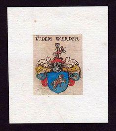 17. Jh. von dem Werder Wappen Adel coat of arms heralrdy Heraldik Kupferstich