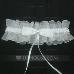 Garter - $5.89 - Pure Satin Organza With Bowknot Rhinestone Wedding Garters (104035642) http://jjshouse.com/Pure-Satin-Organza-With-Bowknot-Rhinestone-Wedding-Garters-104035642-g35642