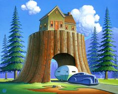 "Robert LaDuke Artwork - ""Tree House"" Original Acrylic On Panel 26""x31"""