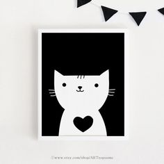 Printable art Heart Cat living room Kids room wall by ARTsopoomc