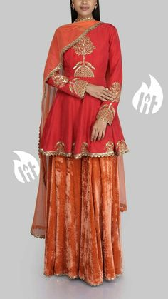 SVA adds a hint of colour to your look with this red flared kurta with gold embroidery paired with burnt orange velvet sharara and net dupatta. Delicate pearl jewellery with offset this look beautifully. Pakistan Fashion, India Fashion, Ethnic Fashion, Indian Bridal Outfits, Indian Designer Outfits, Designer Dresses, Pakistani Dress Design, Pakistani Dresses, Indian Dresses