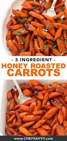 These Honey Roasted Carrots are just perfect for Thanksgiving day! Made with only 3 ingredients, the brown butter and honey are melted together, poured over the carrots and then they're all roasted together in the oven. The flavor brought out of th Carrots In Oven, Honey Glazed Carrots, Honey Roasted Carrots, Cooked Carrots, Carrots Healthy, Healthy Food, Healthy Eating, Oven Fried Chicken Thighs, Crispy Oven Fried Chicken