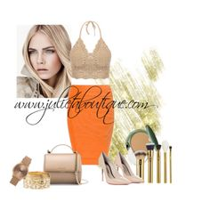 Orange High Waisted bandage skirt