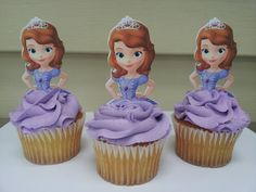 12 Sofia the first cupcake picks/toppers party decoration Sophia The First Cupcakes, Sophia The First Birthday Party Ideas, 4th Birthday Parties, Sofia Cupcakes, Sophia Cake, Princess Cupcakes, 3rd Birthday, Birthday Ideas, Bday Girl