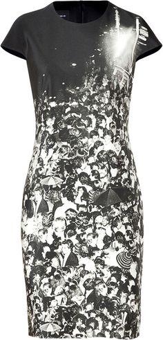 AKRIS Blac and Pearl Studio 54 Print Silk Dress - Lyst