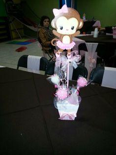 Baby monkey themed centerpiece- babyshower-cakepops centerpiece