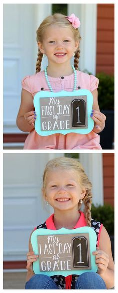 First Day of School Photo Prop - a fun DIY project to make with vinyl & your Silhouette CAMEO or Portrait machine (Diy Projects To Sell) Cool Diy Projects, Vinyl Projects, 1st Day Of School, Back To School, School School, School Lunch, Primary School, Lila Kindergarten, Kind Photo