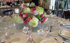 August wedding centerpiece at Sunnybrook Golf Club in Plymouth Meeting.  Designed on a gold mercury compote.  Flowers included limelight hydrangea, hot pink piano garden spray roses, pale pink roses, lime green hydrangea.and lime green coxcomb.