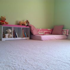 Use crib mattress and possibly bumper pad, if pattern is appropriate, to create reading and play nook.  Girls or boys room.  Toddler Big kid.