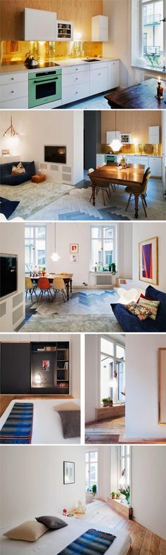 apartment - love the changes in flooring to mark out changes in function of space. (And want that kitchen floor!!!)