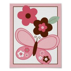 Butterfly Flowers Nursery Wall Art Print 8X10