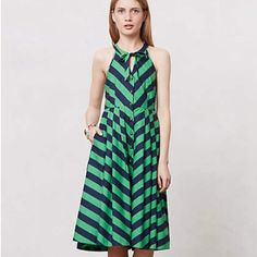 Emerald Ripple Dress, need size 10! Beautiful striped dress, full skirt. Also interested in a size 10 if anyone sees one thanks! Anthropologie Dresses Midi