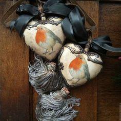 """Купить """"Птички зимние"""" Интерьерные керамические сердечки. - сердечко, сердечко подвеска, птички, зима"""