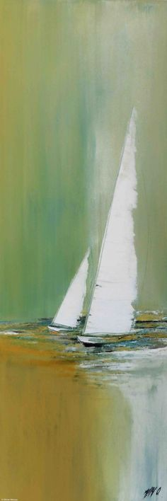 Voyage àdeux... - Painting,  40x2x120 cm ©2015 by Olivier Messas -                                                                        Contemporary painting, Canvas, Boat, Sailboat, segler, sailing, sail, voile, voilier, mer, bleu #sailboatart