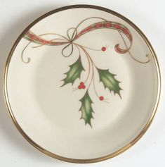 Holiday Nouveau Gold Bread & Butter Plate by Lenox Christmas China, Christmas Dishes, Christmas Art, Christmas Ornaments, Christmas Table Settings, Christmas Tablescapes, Christmas Decorations, Christmas Face Painting, Christmas Paintings