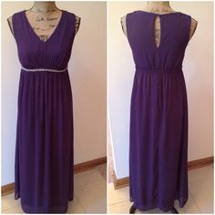 """Gorgeous Chiffon Dress by Tevolio Style, grace and beauty, this gorgeous chiffon dress has it all! Dress is fully lined, has a v-neck, with a single button closure on the back, an empire waist with slight elastic stretch on the back and beaded trim accenting on the front and in excellent like new condition. 100% polyester. Bust: 30"""" Waist: 28"""" overall length: 53 1/2"""" Tevolio Dresses"""