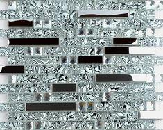 Glass Mosaic Tile Backsplash, Stone Mosaic Tile, Mosaic Glass, Kitchen Backsplash, Glass Tiles, Wall Tiles, Mirror Mosaic, Mirror Glass, Backsplash Ideas