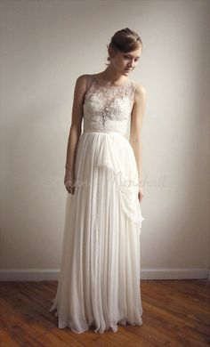 Josephine lace and silk chiffon gown  etsy exclusive by Leanimal