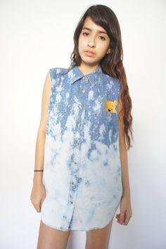 Denim Shirt Sleeveless Button Down Winnie the Pooh by yokovintage, $37.99