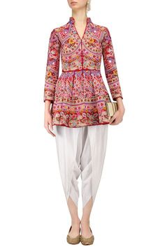 Red thread work peplum top with white dhoti pants available only at Pernia's Pop Up Shop.