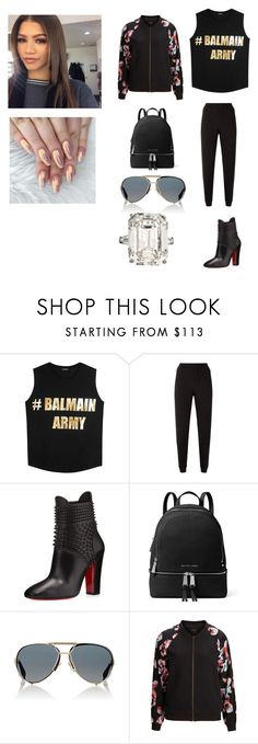 """""""1542"""" by paukar ❤ liked on Polyvore featuring Balmain, Armani Jeans, Christian Louboutin, MICHAEL Michael Kors, Givenchy and SELECTED"""